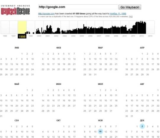 архив по календарю