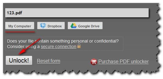 сервис снятия защиты PDF Unlock