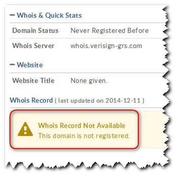 уведомительная надпись о возможности регистрации чистого домена