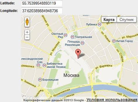 указываем координаты на Google Maps