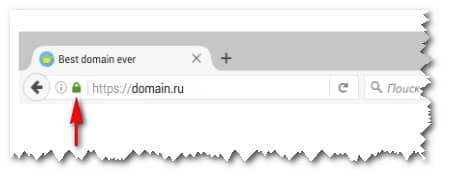 значок сертификата DV в браузере Mozilla Firefox