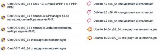 операционные системы и конфигурации VPS сервера