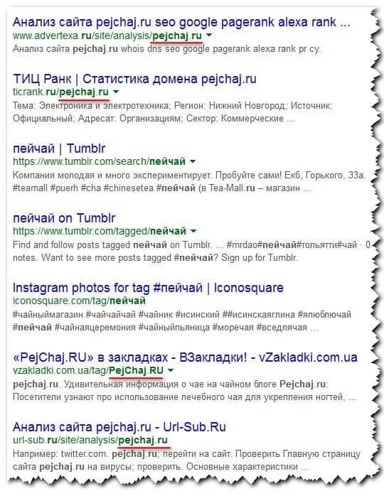 упоминания домена в Google