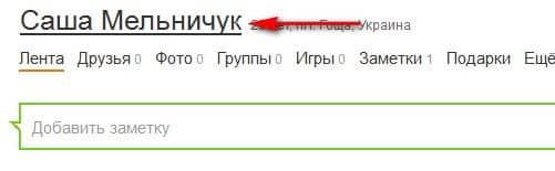 имя и фамилия пользователя
