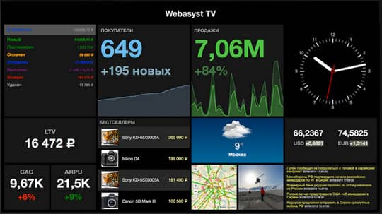 демонстрация услуги Webasyst TV