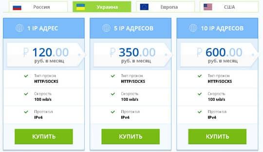 цены на украинские прокси