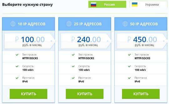 цены на российские IPv6 пркоси